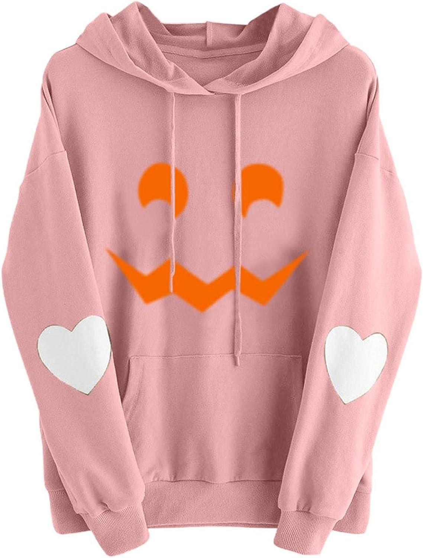 Hoodie Sweatshirt Women cheap Halloween Pumpkin Pullover Face Detroit Mall Casual P