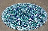 Sophia-Art Mandala Tapiz de Tiro de Playa Redondo Hippy Boho Mantel de algodón Gitano Flor de Loto Algodón Redondo Toalla de Playa al Aire Libre Roundie (Green Flower)