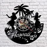 xcvbxcvb Reloj de Pared de Vinilo de Hawaii de EE. UU, Hora de Verano, Reloj de Paisaje Urbano de Hawaii, Arte de Pared, decoración de Tiempo, Regalos de Viaje artesanales Hechos a Mano