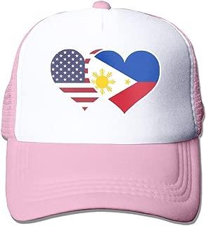 American Philippines Flag Heart Adult Mesh Cap Adjustable Snapback Hats Pink