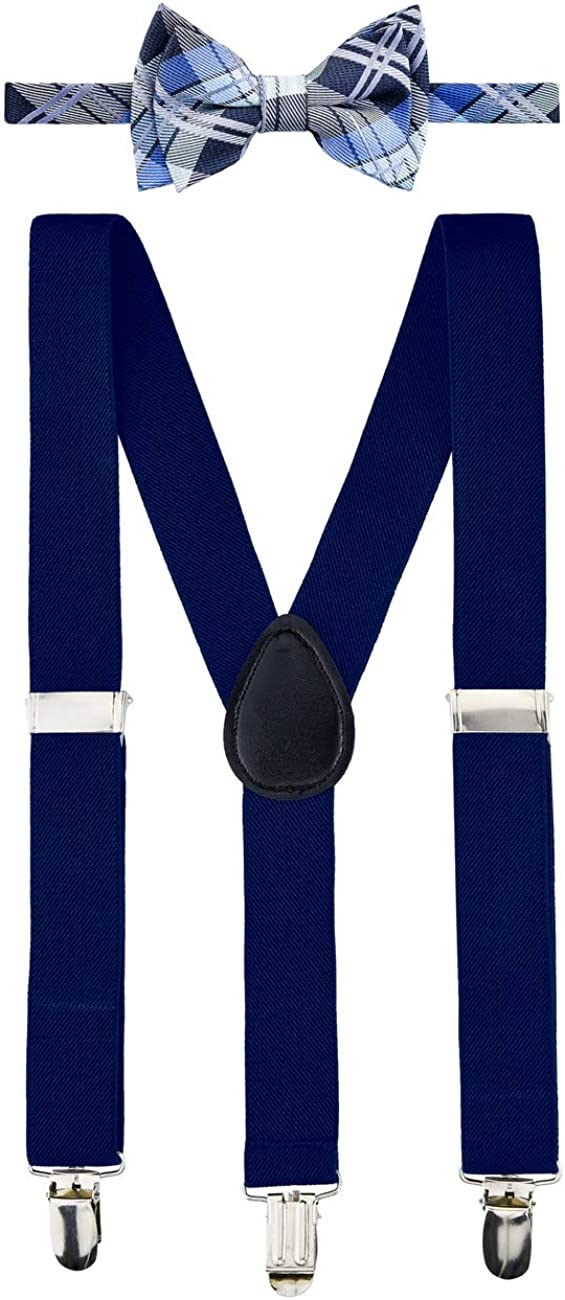 Retreez Boy's Suspender Bow Tie Set Elegant Tartan Plaid Woven Pre-Tied Bow Tie