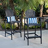 Christopher Knight Home Malibu Outdoor Acacia Wood Adirondack Barstools, 2-Pcs Set, Dark Grey