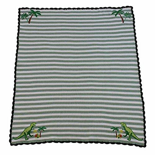 Powell Craft bébé garçon Dinosaure Landau Couverture. 100% coton Knit. Vert