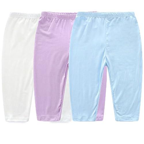 e23ac603e5739 JELEUON 3 Pcs Little Toddler Kids Girls Spring Autumn Summer Leggings  Cropped Tights Pants Soild Color