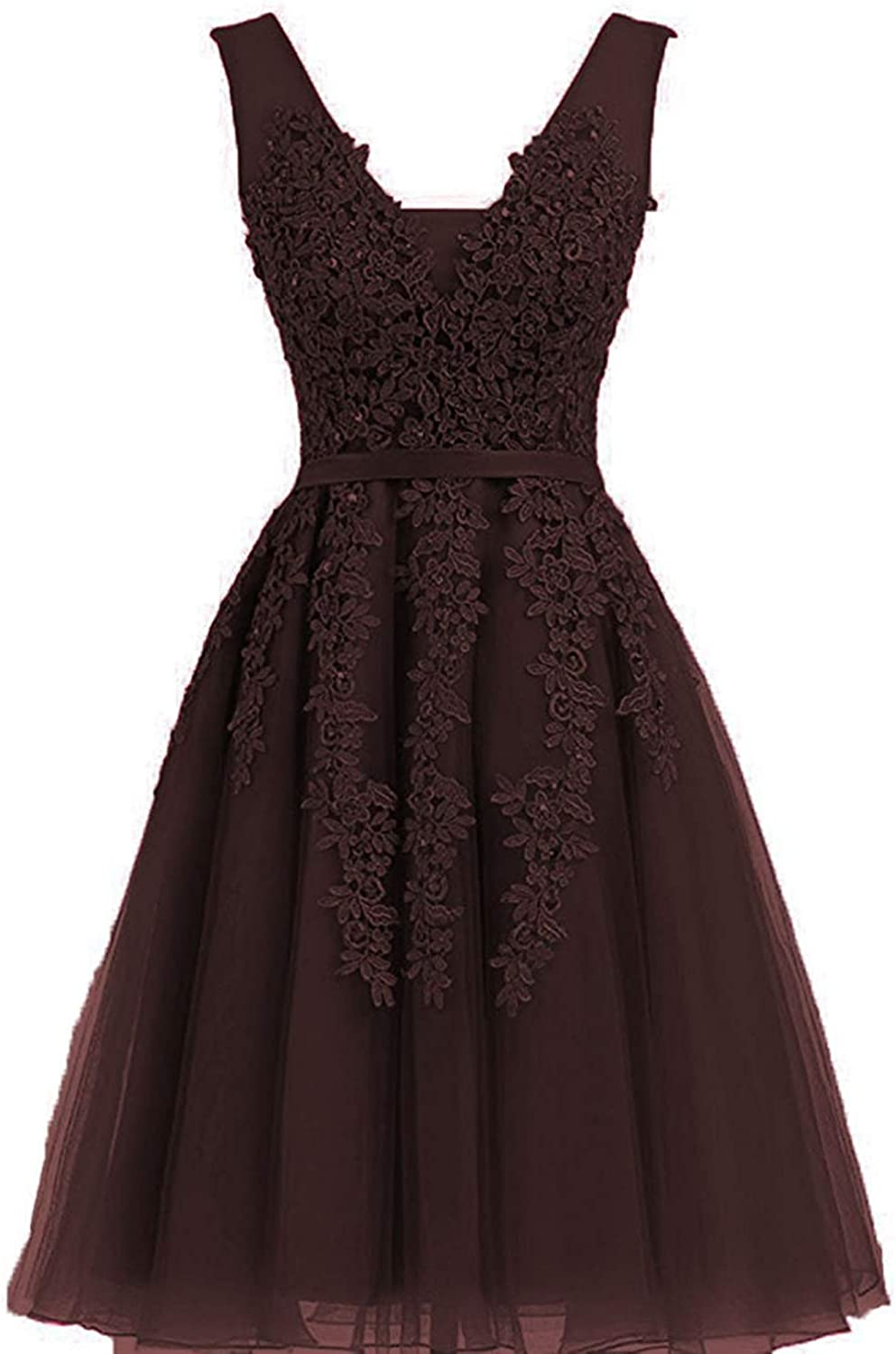 20KyleBird Homecoming Dresses Tulle Lace Appliques Cocktail Dresses Double VNeck ALine Knee Length Prom Evening Party Gowns