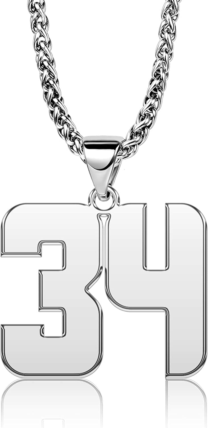 YSAHan Sport Lucky Number Necklace Personalized Arabic Numerals Birth Year Date 25mm High Pendant Jewelry Sports Fan Gift for Men 3mm Curb Link Chain