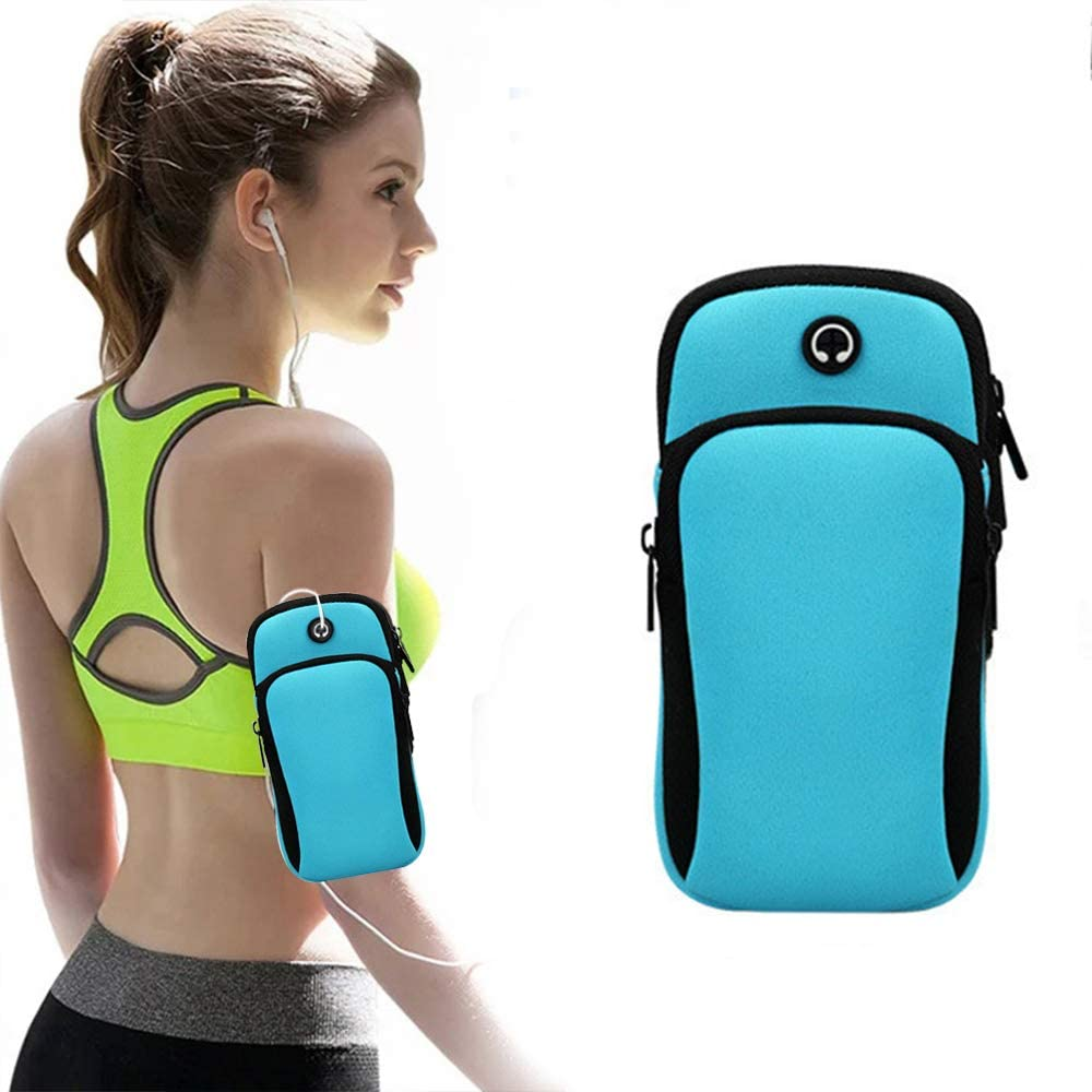 VodTiuKia Running Armband,Arm Bag Phone Holder for Running,Multi Cell Phone Armband Pouch for Gym Workout Jogging Exercise,Suitable with iPhone 11 Pro Max XS XR X 8 7 6 6s Plus (Blue)