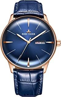 Reef Tiger Luxury Simple Watches Analog Automatic Blue Dial Watches with Date Day RGA8238