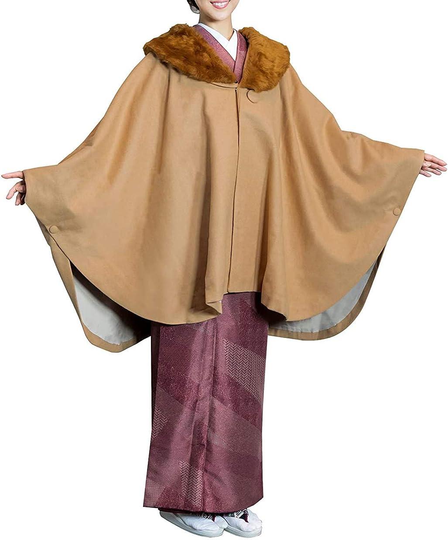 実際小石任命[キョウエツ] 和装コート ケープ ポンチョ へちま衿 ウール混 21 新素材 レディース