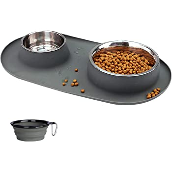 Dog Bowls Stainless Steel, Collapsible Dog Bowl with No Spill Non-Skid Silicone Mat Set, Three Feeder Food Water Bowl for Small Medium Large Dogs, Puppies, Cats and Pets, Pack of 3