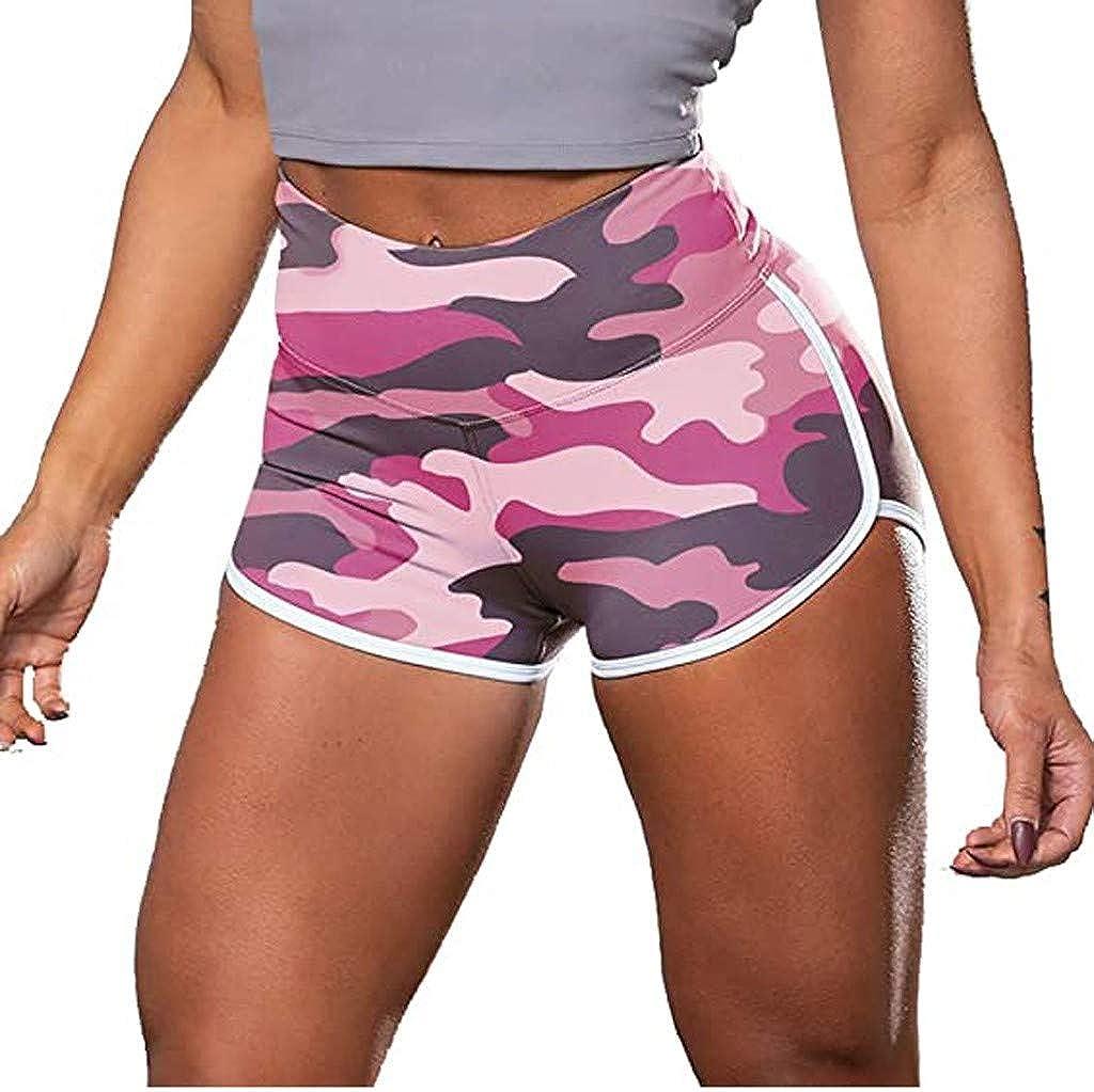 AmyGline Shorts Damen Gym Yoga Fitness Shorts Kurze Hose Leggings Camouflage Tie-Dye Druck High Waist Hip Lift Kurz Hosen Sport Leggins Sporthose Yogahose Hotpants Laufshorts Sweatshorts