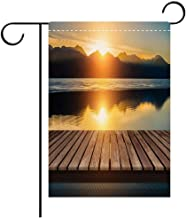 BEICICI Custom Personalized Garden Flag Outdoor Flag Wooden Bridge on The Lake with a Reflection of Sunset on The Snow Mountain Decorative Deck, Patio, Porch, Balcony Backyard, Garden or Lawn