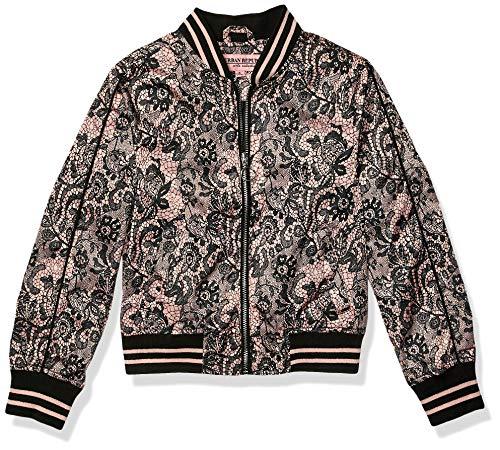 Urban Republic Toddler Girls Sateen LACE Print Bomber Jacket, Black, 3T