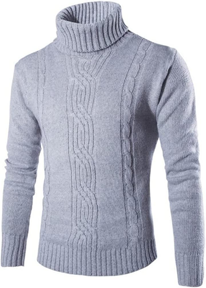 ZTTZX Male Sweater Pullover Slim Warm Solid High Lapel Jacquard Hedging British Men's Clothing Mens Turtleneck (Color : Light gray, Size : M code)