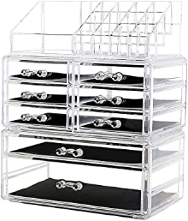 DreamGenius Makeup Organizer 3 Pieces Acrylic Cosmetic Storage Drawers and Jewelry Display Box...