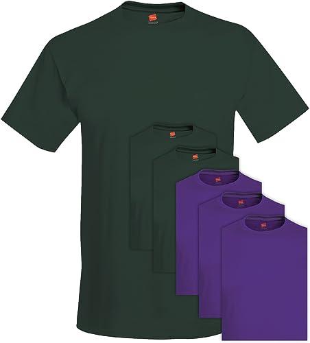 Hanes 5280 Comfortsoft Hommes's 6 Tee-Shirt Ras du Cou Medium 3 Deep Forest + 3 violet
