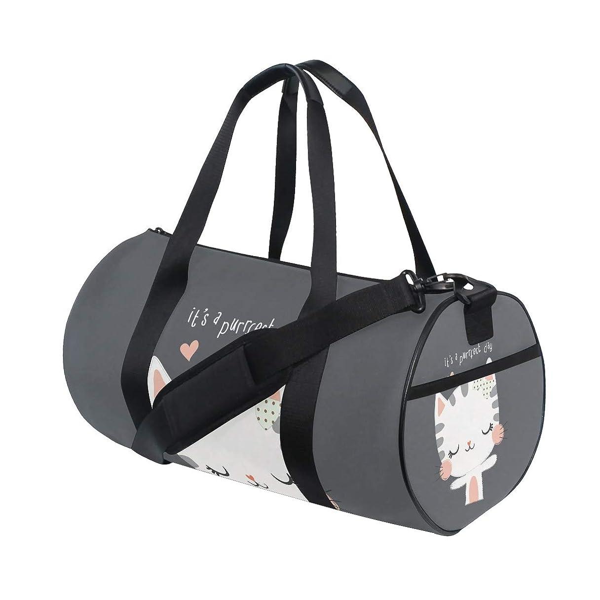 花に水をやるあまりにもコントラストスポーツバッグ ボストンバッグ 猫 かわいい ジム 運動 収納 大容量 靴収納 多機能 ショルダーバッグ ファスナー ポケット付き 旅行 2WAY