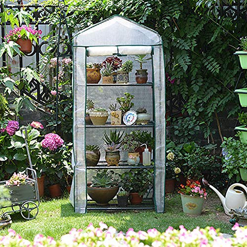 WXJ Metal Pig Iron Mini Greenhouse 3-4 Tier Independent Space with Roll-up PE Protective Cover Sun Protection and Insulation Greenhouse Tent 69Lx49Wx156H Cm