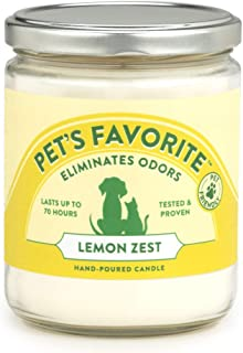 Pet's Favorite - Tested & Proven - Odor Eliminating Candle in 4 Great Fragrances, Pet-Friendly Scented Candle – 70-Hour Burn Time, Cotton Wick - Lemon Zest