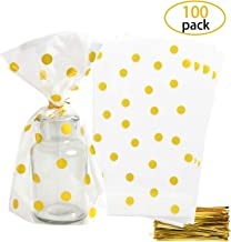 SBYURE Clear Cello Bags Plastic Gold Polka Dot Candy Bags 6x10 inch for Treat Candy Cookie Bakery Party Favor Bags,Pack of 100 with Gold Twist Ties