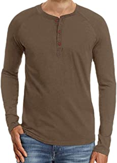 Men's Casual Loose Henley Shirts Crew Neck Long Sleeve Cotton Tops Blouses