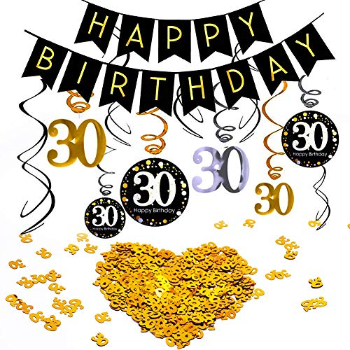 INTVN 30° Compleanno Swirls Decorazioni a Spirale Pendenti Numero 30 Compleanno Coriandoli di Tavolo...