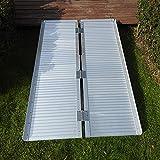 Festnight 4 FT Non-Skid Folding Ramp Two-Section Aluminum Alloy Wheelchair...
