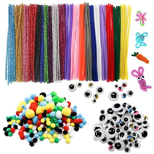 TOAOB Tiges de Fils Chenille colorés Cure Pipes Cleaner 100pcs avec Yeux Mobiles Autocollants 120pcs et 100pcs Multicolore Pompons Loisirs Creatifs Idéal pour créer toutes sortes d'animauxInclus