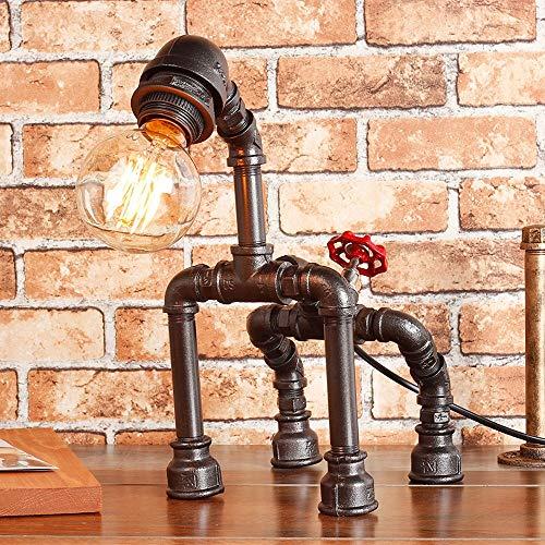 Rishx Industrial Vintage Water Pipe mesa escritorio luz Steampunk Loft perro figura Desktop Lampstand rústico bronce Metal Edison E27 lámpara con dimmer (Color : Black)