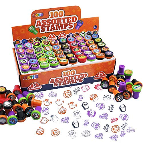 100 Pieces Halloween Assorted Stampers Kids Self-Ink Stamps (25 Designs, 4 Colors Trick or Treat Spooky Stamps) for Halloween Party Favors Supplies, Goodies Bags, Classroom Game Reward Prizes.