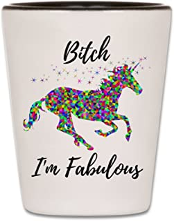 Funny Shot Glass - Unicorn Shotglass - Bitch I'm Fabulous - Ceramic Novelty College Gag Gift For Women - Best Cute Girly Gift For Bachelorette Parties, Wedding Party, and Bridesmaids - 1.5 oz (1)