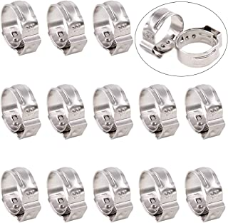 Swpeet 35Pcs 12.8-15.3mm 304 Stainless Steel Single Ear Hose Clamps, Crimp Hose Clamp Assortment Kit Ear Stepless Cinch Rings Crimp Pinch Fitting Tools Perfect for Automotive, Home Appliance Line