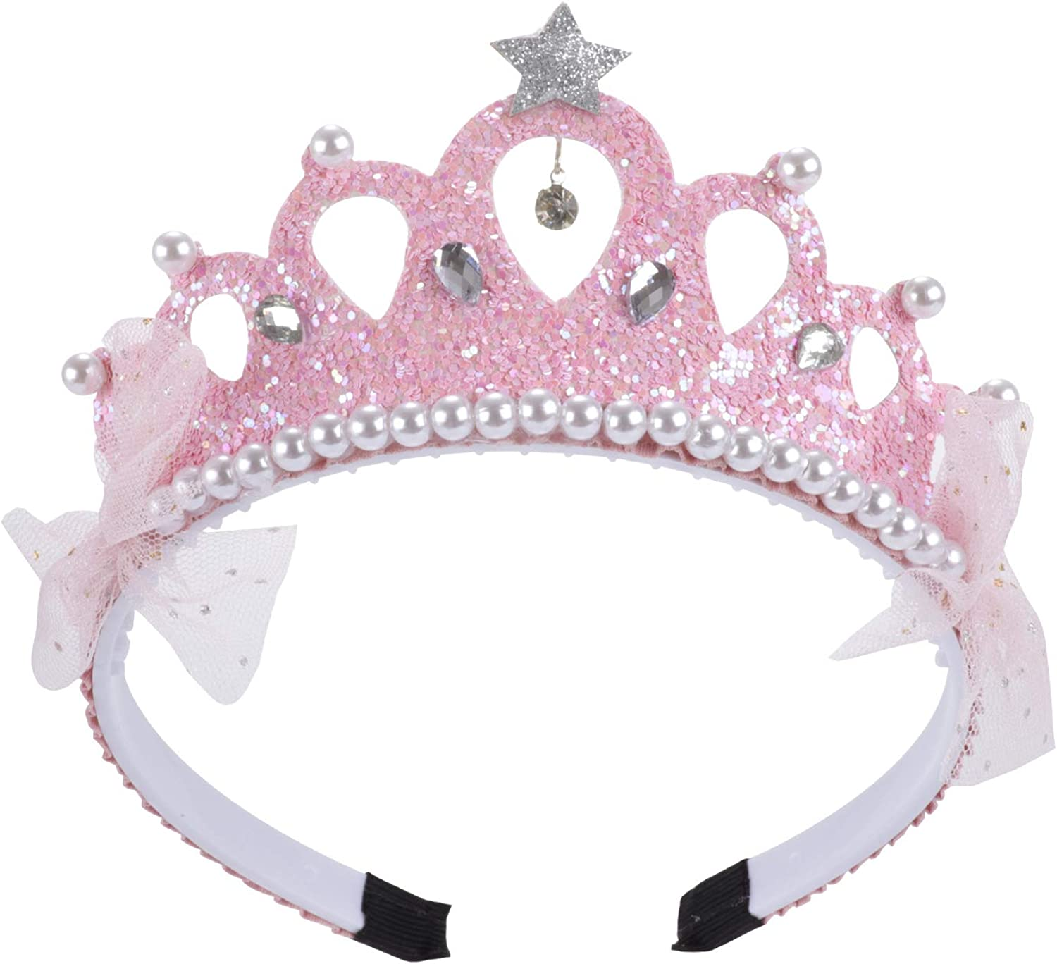 Hot & Sattion Pink Princess Baby Girls Kids Pearl Sequin Crown Headband Birthday Outfit Hair Accessories Children Lovely Hair Bands, Medium