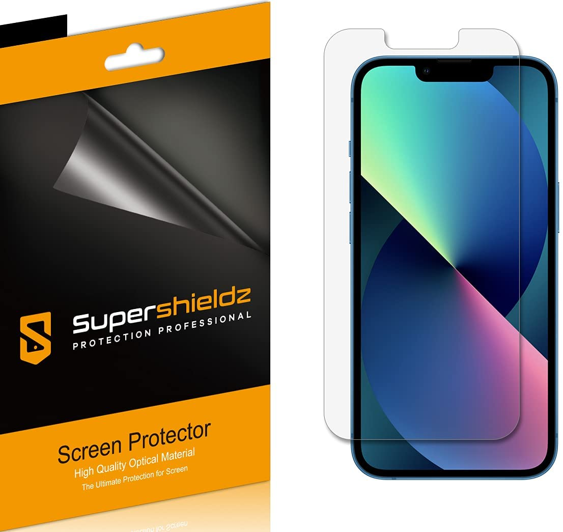 (6 Pack) Supershieldz Designed for Apple iPhone 13 and iPhone 13 Pro (6.1 inch) Screen Protector, High Definition Clear Shield (PET)