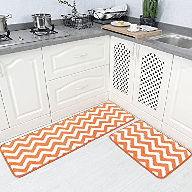 Carvapet 2 Pieces Microfiber Chevron Non-Slip Soft Kitchen Mat Bath Rug Doormat Runner Carpet Set, 17 x48 +17 x24 , Orange