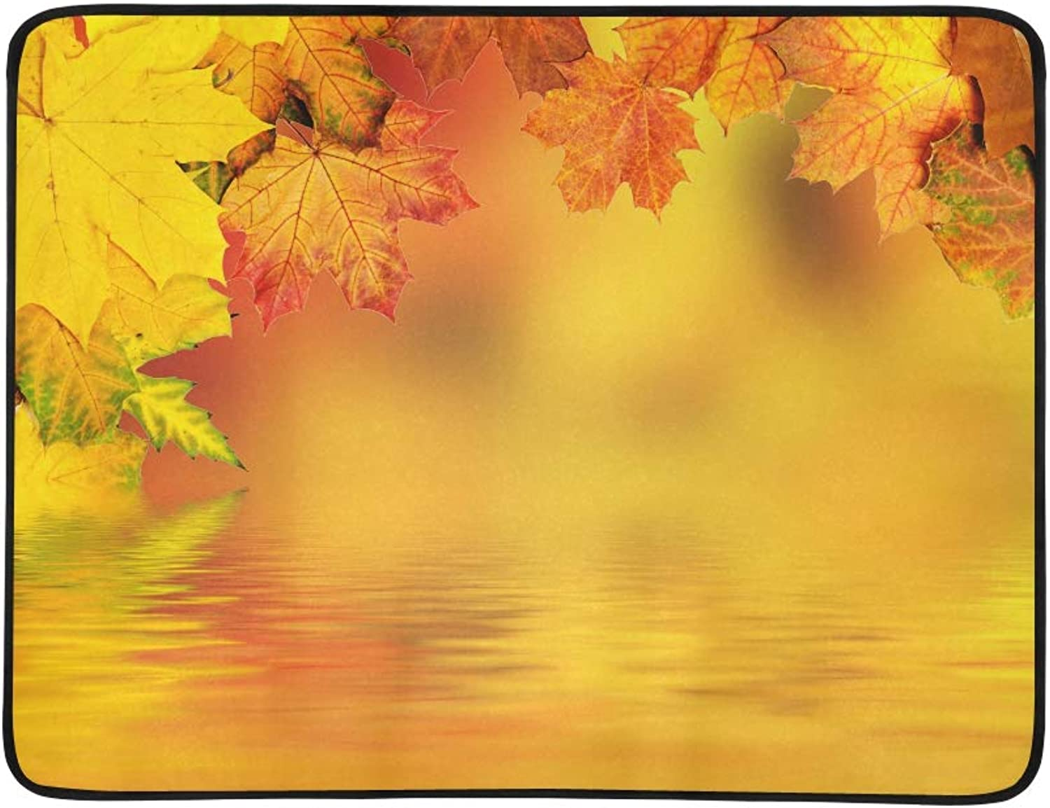colorful Autumn Maple Leaves with Water Pattern Portable and Foldable Blanket Mat 60x78 Inch Handy Mat for Camping Picnic Beach Indoor Outdoor Travel
