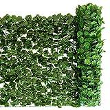 COSTWAY Künstliches Pflanzenwand Hecke Efeublättern Sichtschutz Heckenpflanze Windschutz für Garten Dekor 150 x 300 cm