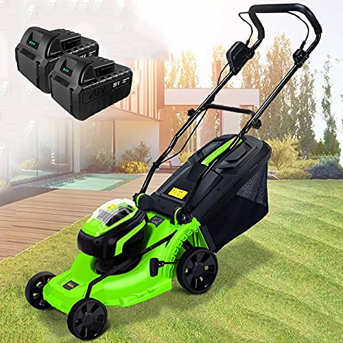 Cordless Push Lawn Mower, 40V Brushless Dethatcher with 4.0Ah Battery & Charger, 6 Mowing Heights, 40L Grass Box, Garden Lawn Sweeper