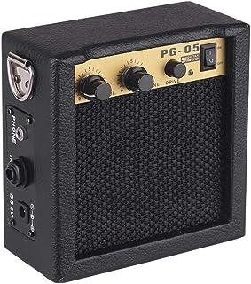 Muslady Mini Amplificador de Guitarra Altavoz 5W Madera con Entrada de 6.35mm Salida de Auriculares de 3,5 mm Soporta Ajuste de Tono de Volumen Overdrive