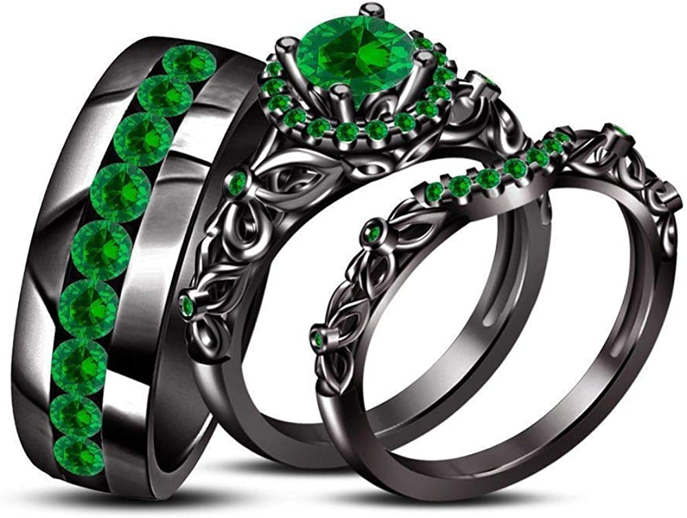 Triostar His Hers 1.45 Ct Emerald Free shipping / New 14k Sale item Over Black Gold Vin Trio