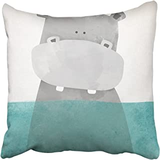 Emvency Throw Pillow Cover Square 18x18 Inches Blue Nursery Hippo in Water Gray Cute Drawing Bird Bath Animal Arts Book Polyester Decor Hidden Zipper Print On Pillowcases