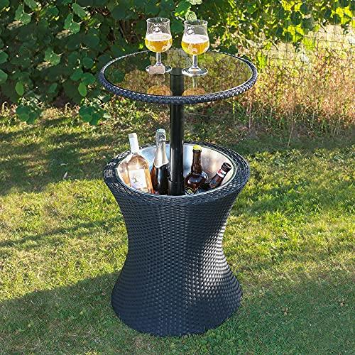 Skylantern - Mesa de jardín con nevera para bebidas frías – Bandeja de cristal transparente – Mesa auxiliar de altura ajustable efecto mimbre – Mesa bandeja de hielo integrada