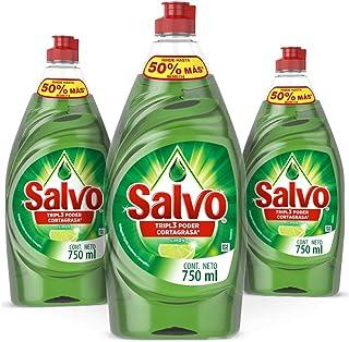 Salvo Lavatrastes Liquido Salvo Limon 3 Unidades 750ml,