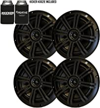 "KICKER Black OEM Replacement Marine 6.5"" 4 Ohm Coaxial Speaker Bundle – 4 Speakers"