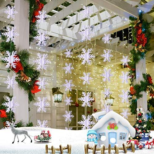 24 piezas de decoración de copo de nieve, adornos de copo de...