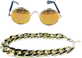 DERVONUNS Gold Dog Collar and Dog Sunglasses for Small Dogs/Cats,Adjustable Plated Gold Dog Chain Necklace Set for Pet Funny Costume