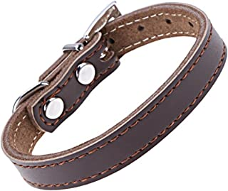GVGs Shop 1 Pack Coffee Color PU Leather Durable Padded Pet Dog Collar Dogs Puppy Cat Neck Belt Strap Soft Elastic Bow Bell Tag First-Class Popular Reflective Safety Breakaway Training Kitten Collars