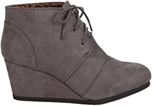 City Classified REX-S Women's Lace Up Wedge High Heel Bootie Boots