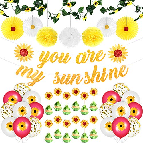39 Pieces Sunflower Party Supplies Includes You Are My Sunshine Sunflower Banners, Artificial Sunflower Paper Flower Balls, Paper Fans, Sunflowers Cupcake Topper, Garland and Sunflower Balloons