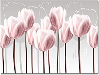 Visual Art Decor Pink Grey and White Abstract Floral Canvas Wall Art Pictures Beautiful Tulip Flowers Painting Printed on Canvas for Living Room Office Wall Decoration Ready to Hang